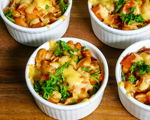BAKED RICE WITH CHICKEN FILLET AND BAKED BEANS
